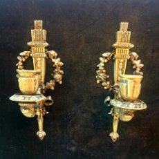 Antigüedades: PAREJA DE CANDELABROS DE PARED. Lote 235841095