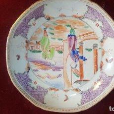 Antigüedades: PLATO EN COMPAÑIA DE INDIAS ,PORCELANA CHINA SIGLO XVIII,LAÑADA. Lote 235877435