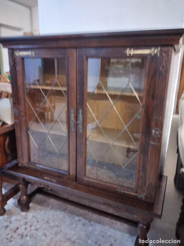 Antigüedades: Preciosa vitrina de madera noble con estaño en los cristales,2 piezas - Foto 2 - 235877815