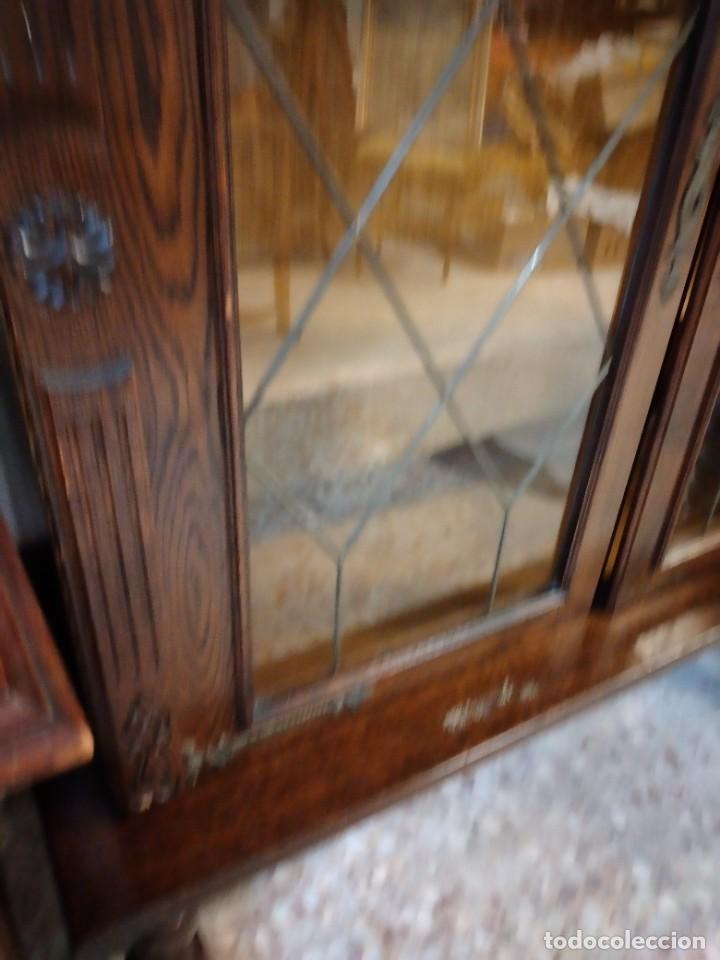 Antigüedades: Preciosa vitrina de madera noble con estaño en los cristales,2 piezas - Foto 6 - 235877815