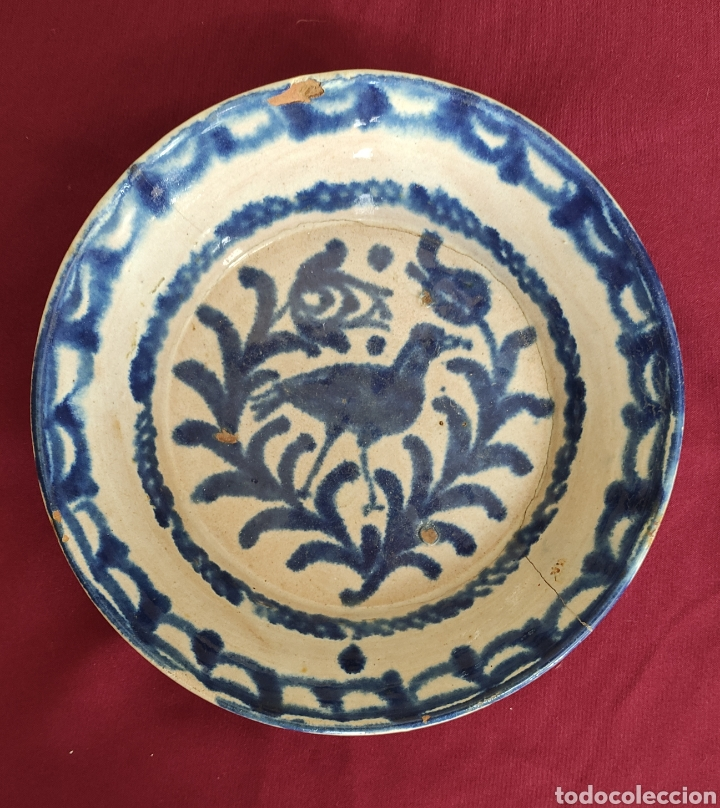 MAGNIFICO PLATO, FUENTE ANTIGUA EN CERÁMICA DE FAJALAUZA (GRANADA) S.XIX (Antigüedades - Porcelanas y Cerámicas - Fajalauza)