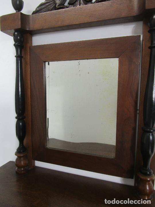 Antigüedades: Bonito Tocador de Sobremesa, Cómoda - Peinador - Espejo - Madera de Nogal - con Cajón - S. XIX - Foto 2 - 235969590