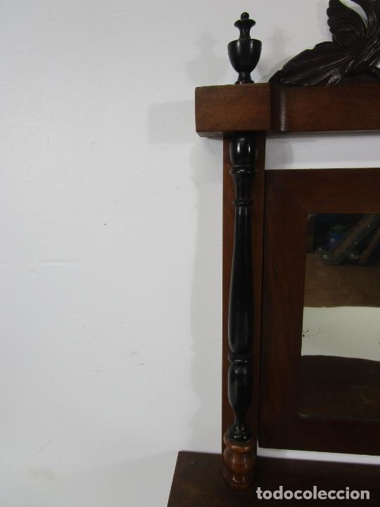 Antigüedades: Bonito Tocador de Sobremesa, Cómoda - Peinador - Espejo - Madera de Nogal - con Cajón - S. XIX - Foto 5 - 235969590