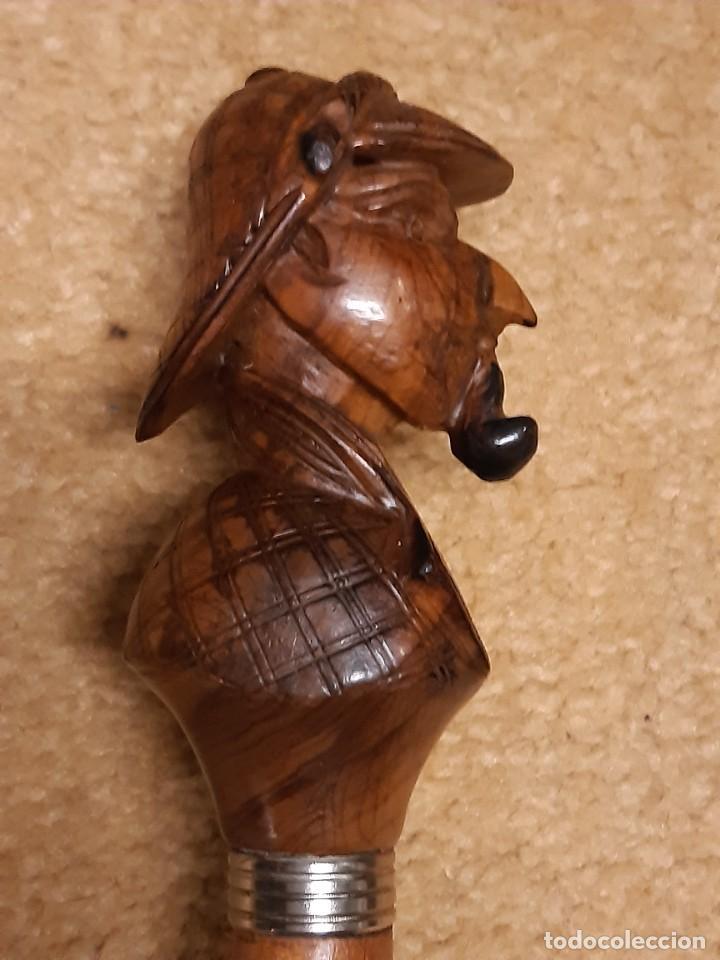 Antigüedades: Bastón. Sherlock Holmes. Madera tallada. Vara madera. Siglo XX. - Foto 4 - 235985610