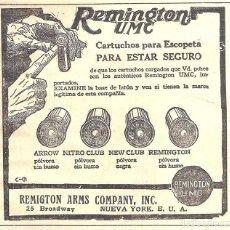 Antiquités: 1923 HOJA REVISTA PUBLICIDAD ANUNCIO DE PRENSA CARTUCHOS DE CAZA' DE REMINGTON U.M.C.. Lote 236011390