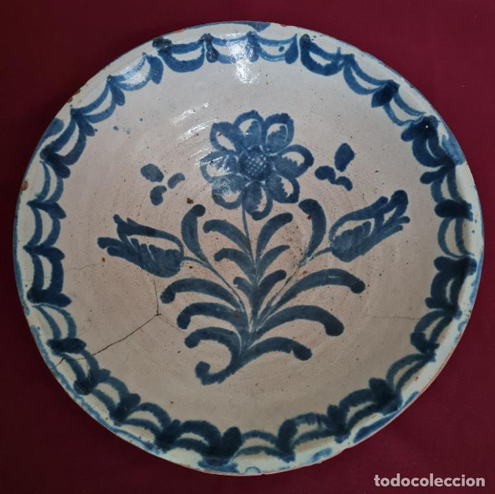 EXCEPCIONAL FUENTE HONDA DE FILO VUELTO EN CERAMICA DE FAJALAUZA,(GRANADA),S. XVIII (Antigüedades - Porcelanas y Cerámicas - Fajalauza)