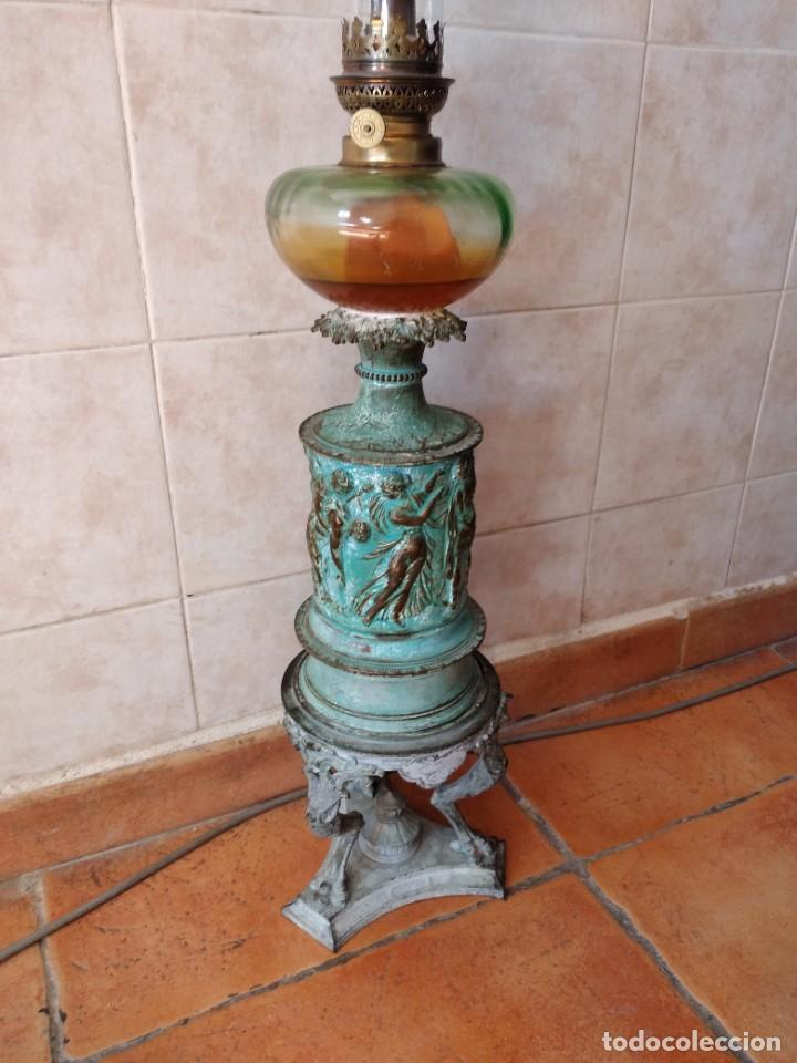 Antigüedades: Antiguo quinque de bronce imágenes antiguos griegos desnudos, con 3 patas y garras,pátina verde, xix - Foto 3 - 236017385