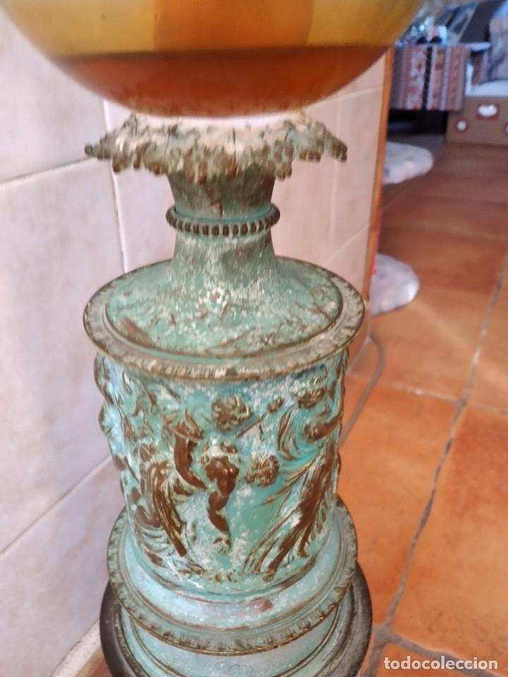 Antigüedades: Antiguo quinque de bronce imágenes antiguos griegos desnudos, con 3 patas y garras,pátina verde, xix - Foto 8 - 236017385
