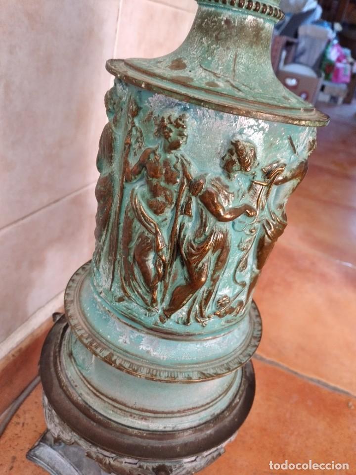Antigüedades: Antiguo quinque de bronce imágenes antiguos griegos desnudos, con 3 patas y garras,pátina verde, xix - Foto 19 - 236017385