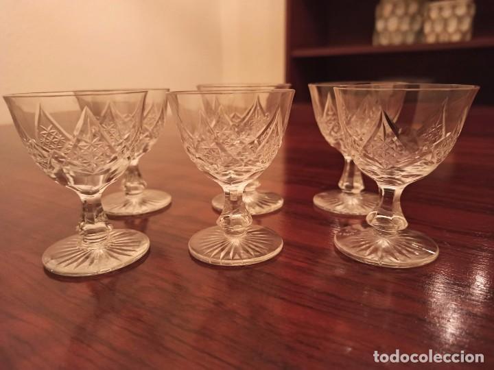 6 COPAS DE VINO CRISTAL DE BOHEMIA TALLADO (Antigüedades - Cristal y Vidrio - Bohemia)