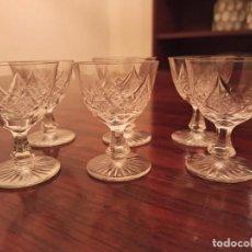 Antigüedades: 6 COPAS DE VINO CRISTAL DE BOHEMIA TALLADO. Lote 236021350