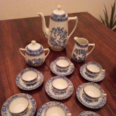 Antiquités: JUEGO DE CAFÉ SANTA CLARA CHINA BLAU CAFETERA, LECHERA, AZUCARERO, 8 TAZAS Y 8 PLATOS. Lote 236023305