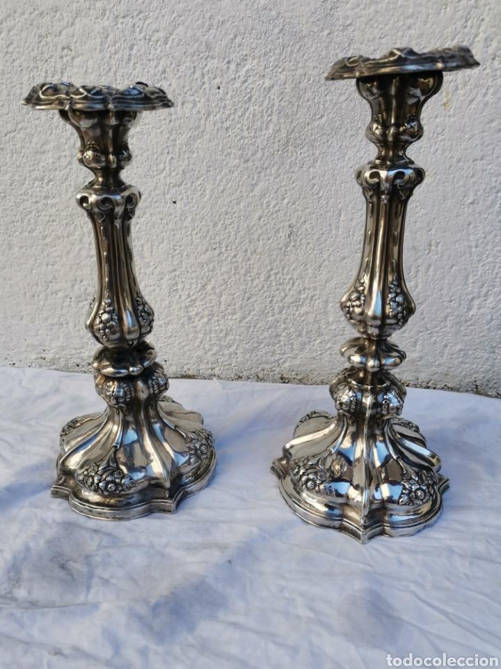 CANDELEROS DE PLATA (Antigüedades - Platería - Plata de Ley Antigua)