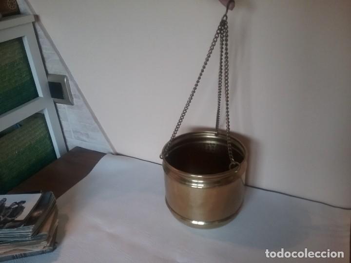 Antigüedades: MACETERO EN LATÓN PARA COLGAR - Foto 2 - 236026385