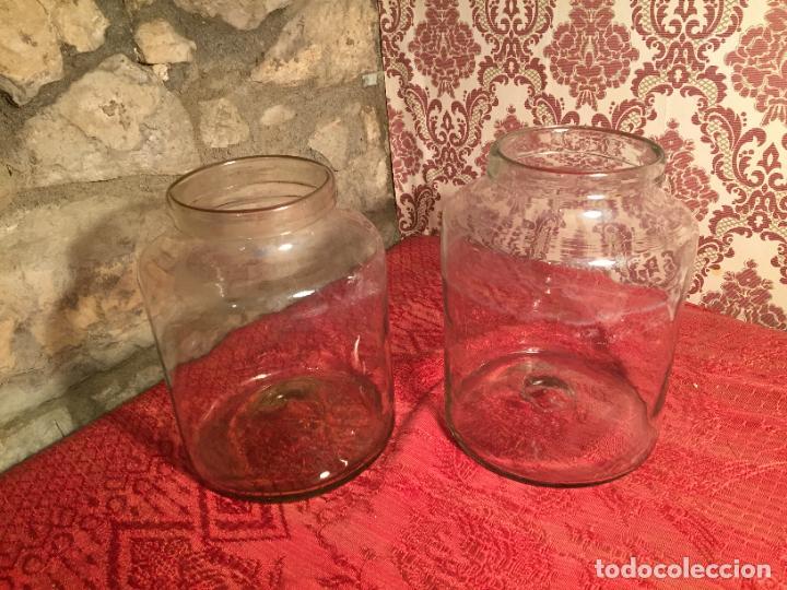 ANTIGUOS 2 BOTE / TARRO DE CRISTAL CATALÁN SOPLADO A MANO DEL SIGLO XIX (Antigüedades - Cristal y Vidrio - Catalán)
