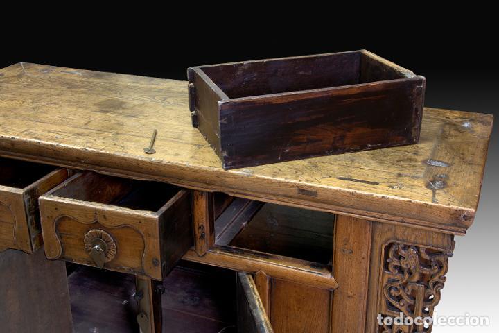 Antigüedades: Consola oriental. Madera tallada, metal. Hacia principios del siglo XX. - Foto 4 - 236094405