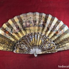 Antigüedades: ESPECTACULAR ABANICO DEL SIGLO XIX DE MUSEO PINTADO A DOS CARAS A MANO Y DORADOS. Lote 236109165