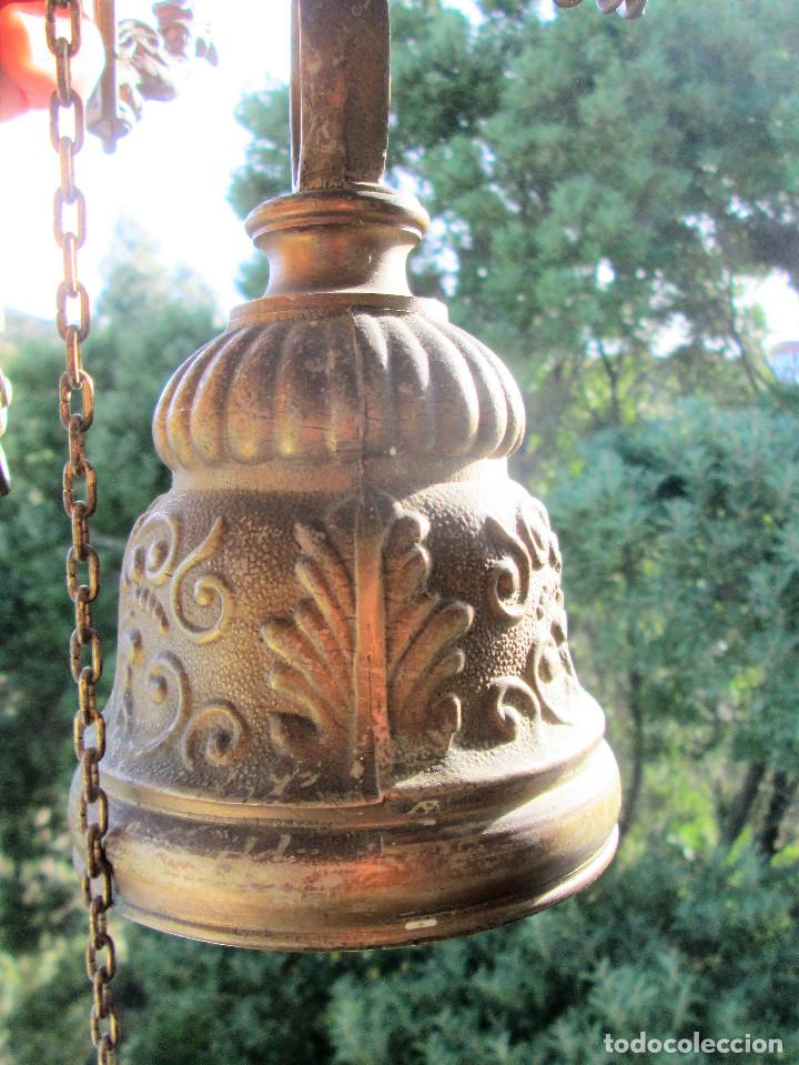 Antigüedades: ANTIGUA CAMPANA DE BRONCE MACIZO, PARA CAPILLA O CASONA PESA 2 KILOS - Foto 9 - 236116325