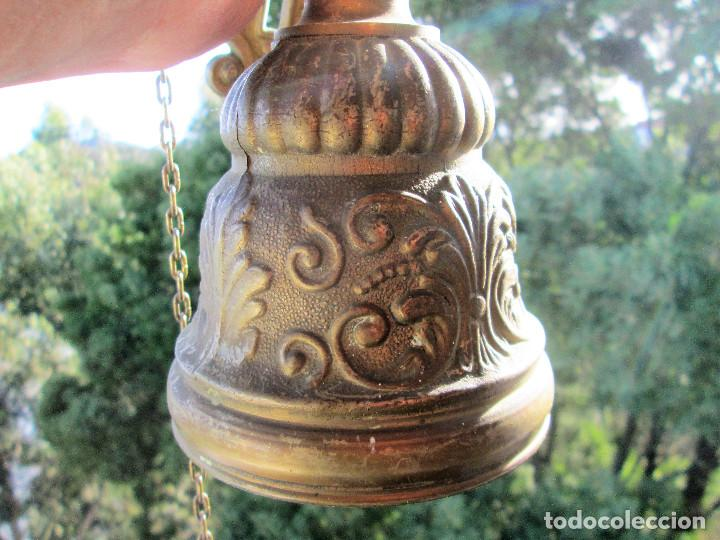 Antigüedades: ANTIGUA CAMPANA DE BRONCE MACIZO, PARA CAPILLA O CASONA PESA 2 KILOS - Foto 11 - 236116325