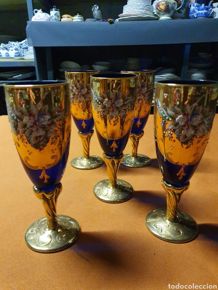 JUEGO DE 5 COPAS DE MURANO (Antigüedades - Cristal y Vidrio - Murano)
