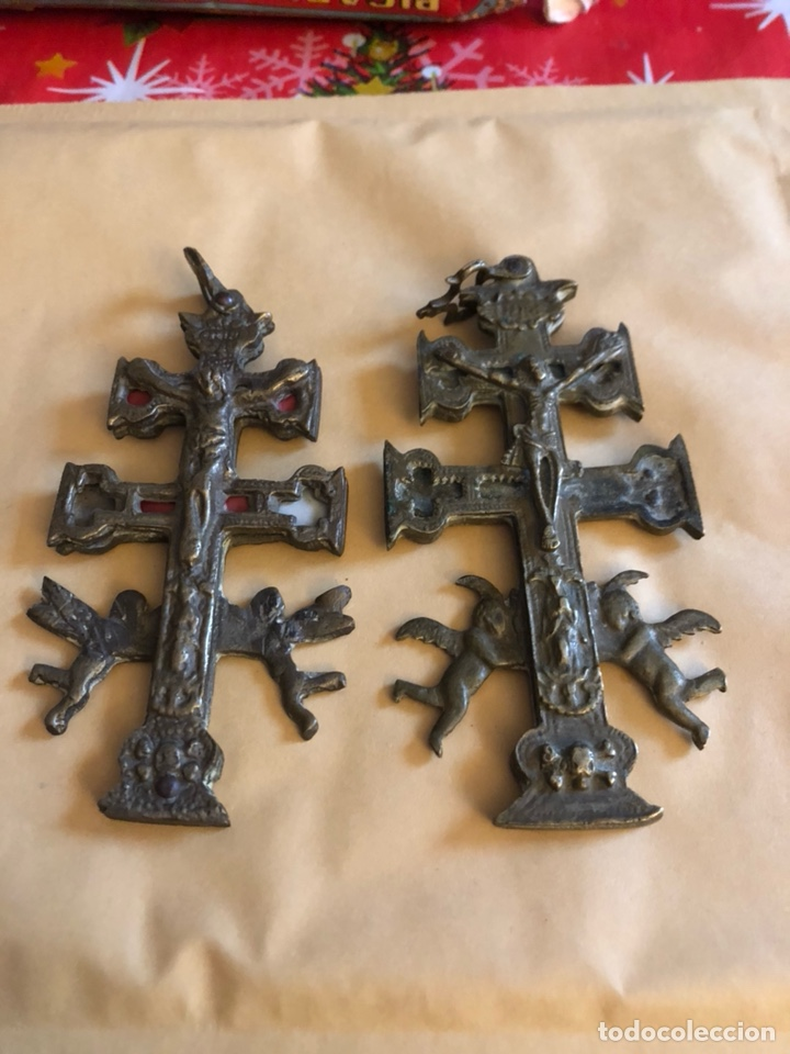 LOTE DE 2 CRUCES DE CARAVACA, BUEN TAMAÑO (Antigüedades - Religiosas - Cruces Antiguas)
