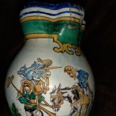 Antigüedades: JARRÓN DE CERAMICA TALAVERA DON QUIJOTE Y SANCHO PAZA 30X24. Lote 236181785