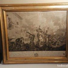 Antigüedades: ANTIGUO CUADRO GRABADO CON MARCO EN ORO FINO,DE LA EROICA RESISTENCIA DE LA VLLA DEL ARBÓS EN 1808.. Lote 236193895