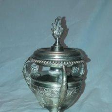 Antigüedades: BELLA ANTIGUA LAMPARA DE ACEITE CON MECHA CON BAÑO DE PLATA 18CM. Lote 236198140