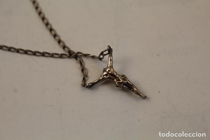 Antigüedades: collar cadena colgante crucifijo en plata de ley 925 - Foto 2 - 268866399