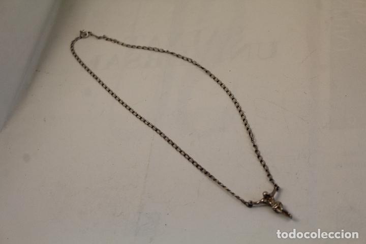 Antigüedades: collar cadena colgante crucifijo en plata de ley 925 - Foto 4 - 268866399