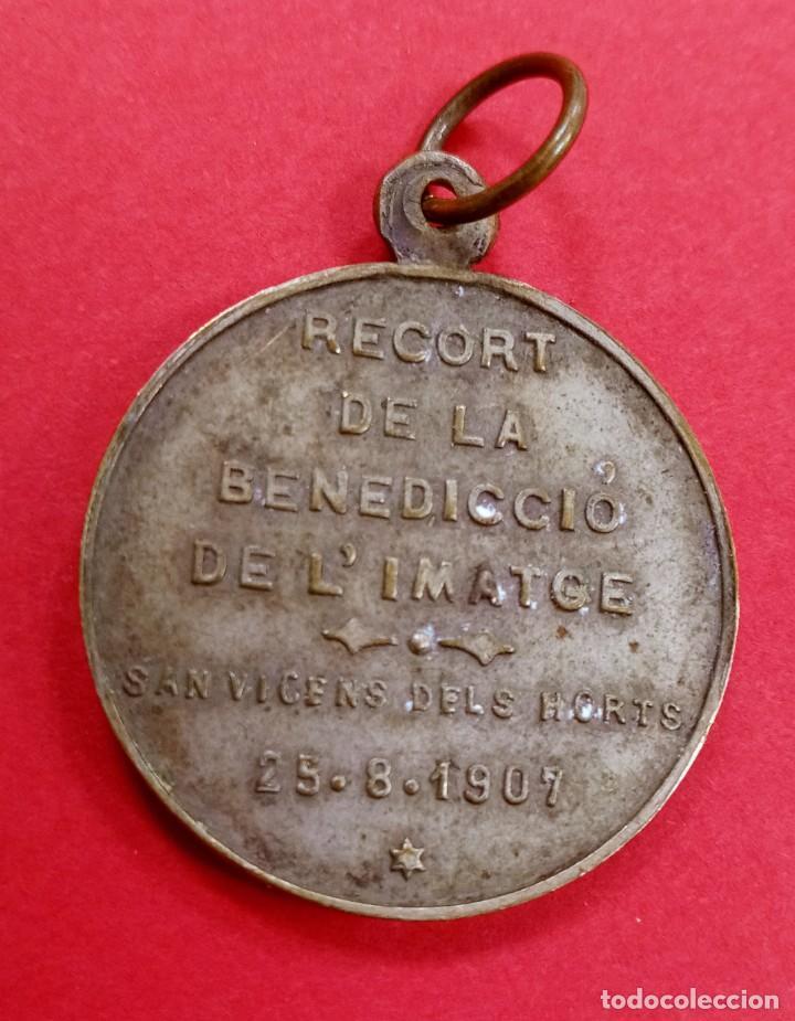 MEDALLA VIRGEN SANT VICENT DELS HORTS AÑO 1907. BARCELONA. RARISIMA. (Antigüedades - Religiosas - Medallas Antiguas)