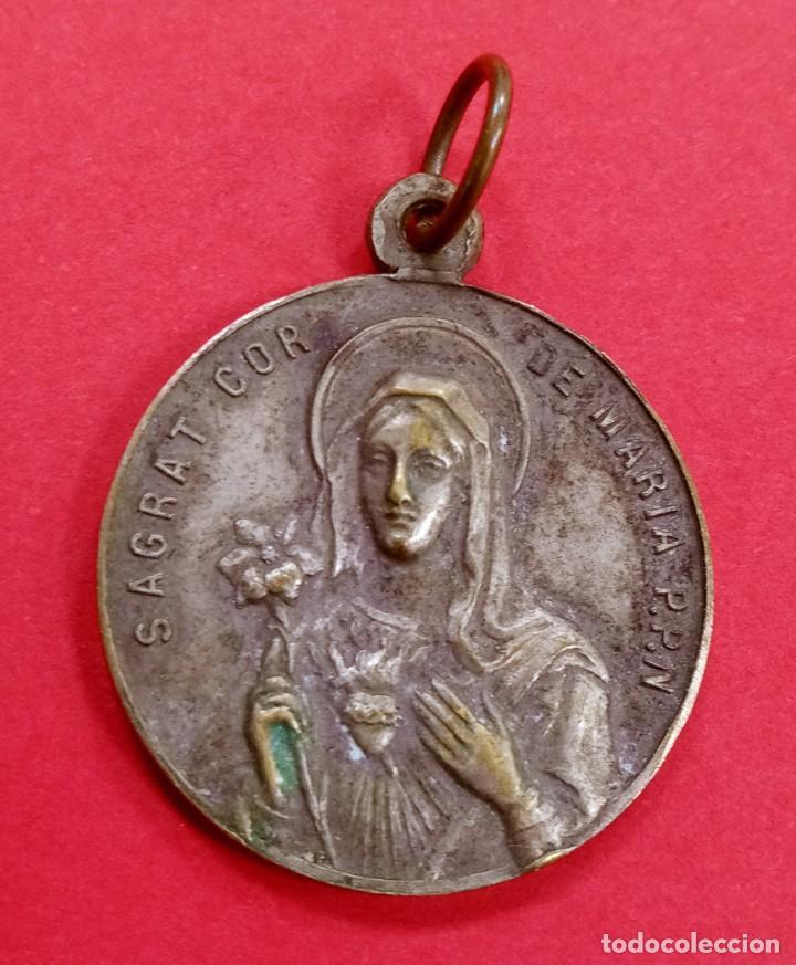 Antigüedades: Medalla Virgen Sant Vicent dels Horts Año 1907. Barcelona. Rarisima. - Foto 2 - 236282900
