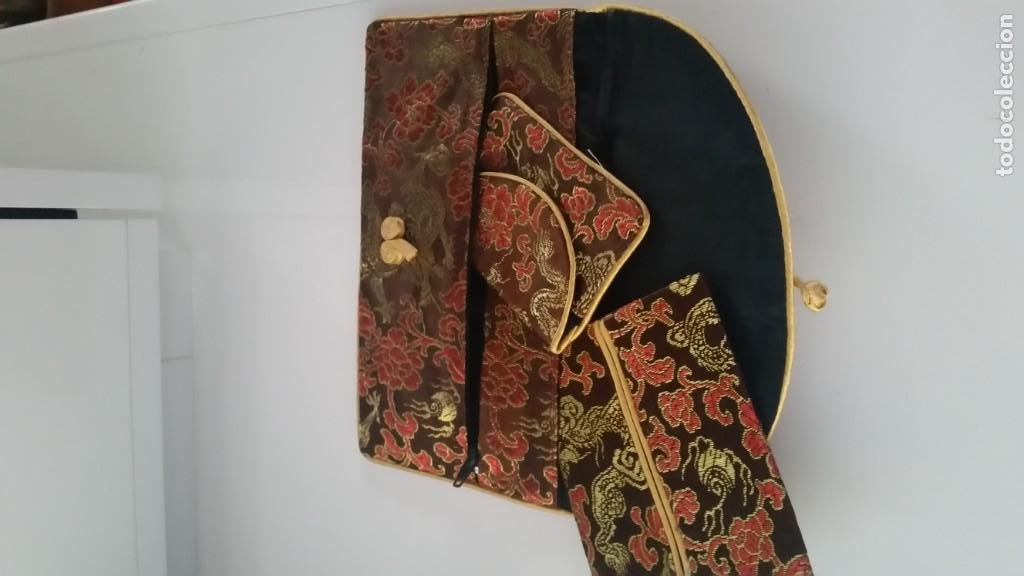 PARA MUJER CONJUNTOS DE 3 BOLSINOS EN TEJIDO PAIZES ORIENTALES TONA CASTANO ,DORADO Y JORO (Antigüedades - Moda - Bolsos Antiguos)