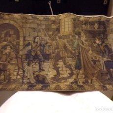 Antigüedades: BONITO ANTIGUO TAPIZ ESCENA CABALLEROS EN TAVERNA DECORACION. Lote 236384655