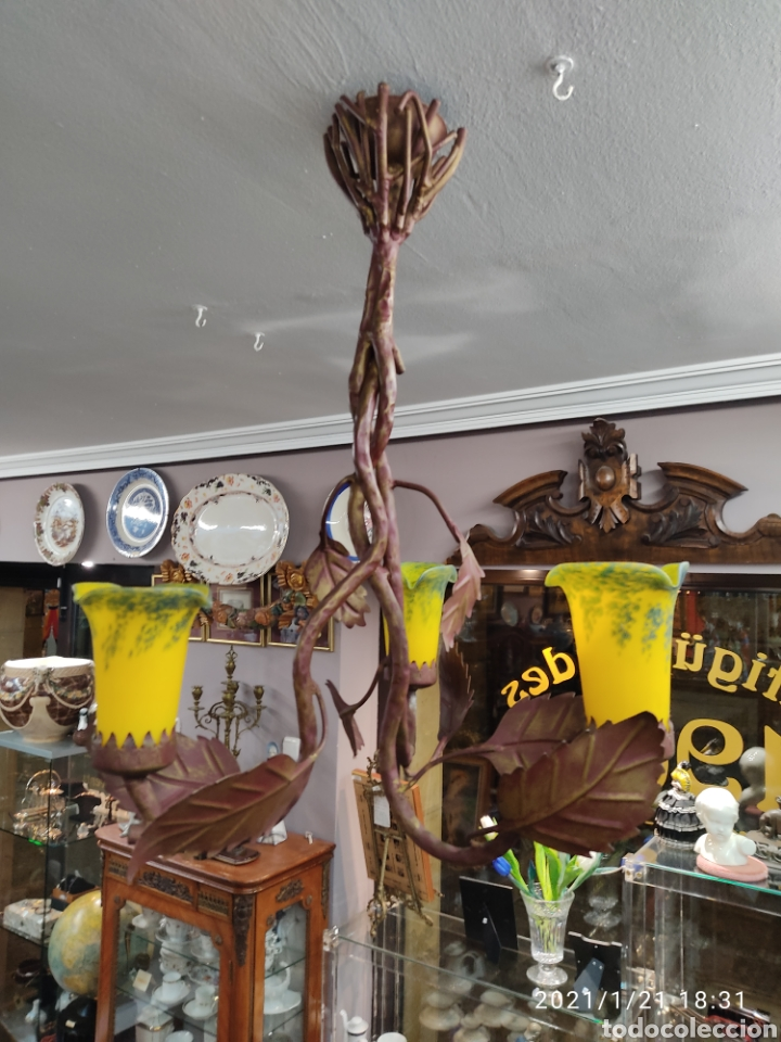 Antigüedades: Lampara de forja con tulipas cristal estilo 1900 - Foto 2 - 236410900
