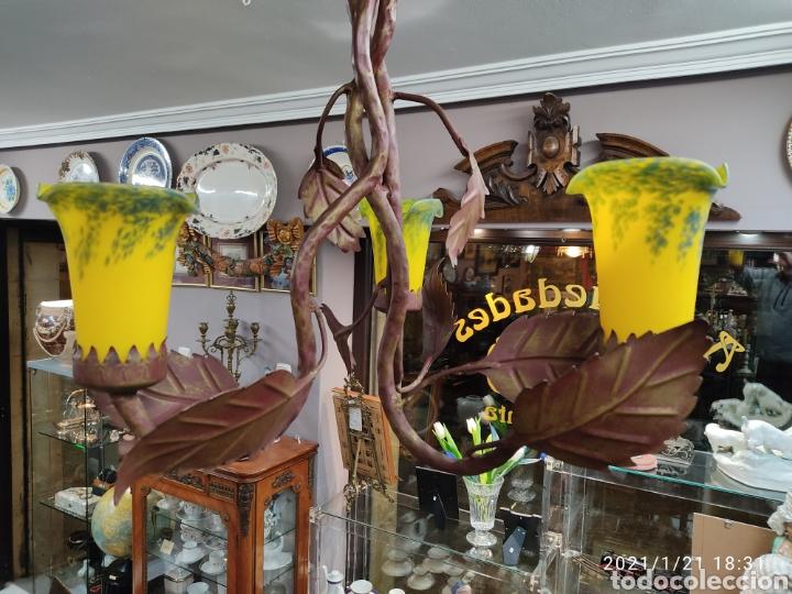 Antigüedades: Lampara de forja con tulipas cristal estilo 1900 - Foto 4 - 236410900