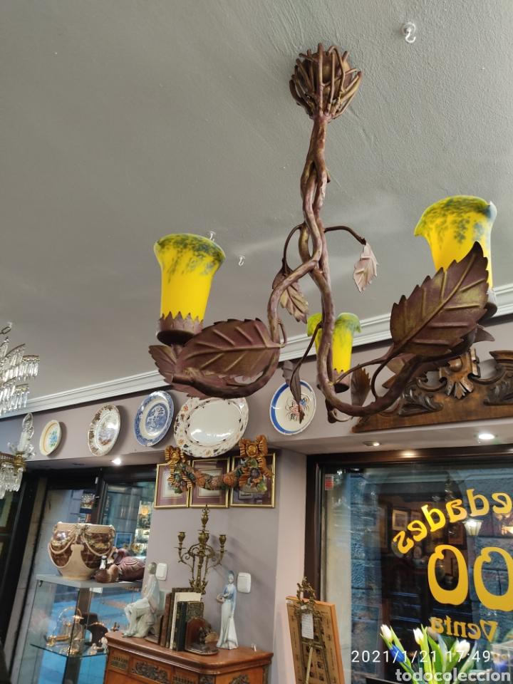 LAMPARA DE FORJA CON TULIPAS CRISTAL ESTILO 1900 (Antigüedades - Iluminación - Lámparas Antiguas)