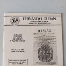 Antigüedades: CATALOGO SUBASTAS FERNANDO DURAN 1994. Lote 236531730
