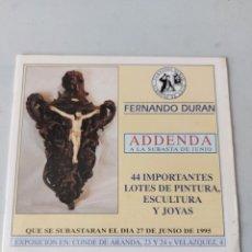 Antigüedades: CATALOGO SUBASTAS FERNANDO DURAN 1995. Lote 236533145