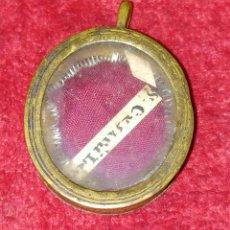 Antigüedades: RELICARIO CON RELIQUIA DE SAN CESARIO DE LECCE. METAL Y CRISTAL. ROMA. XVIII-XIX. Lote 236581115