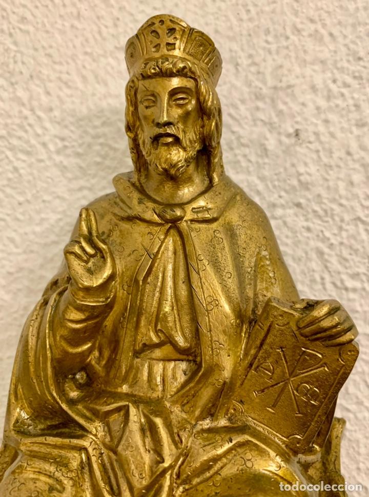 Antigüedades: CRISTO REY, IMAGEN, BRONCE, MENSULA - Foto 4 - 236596500