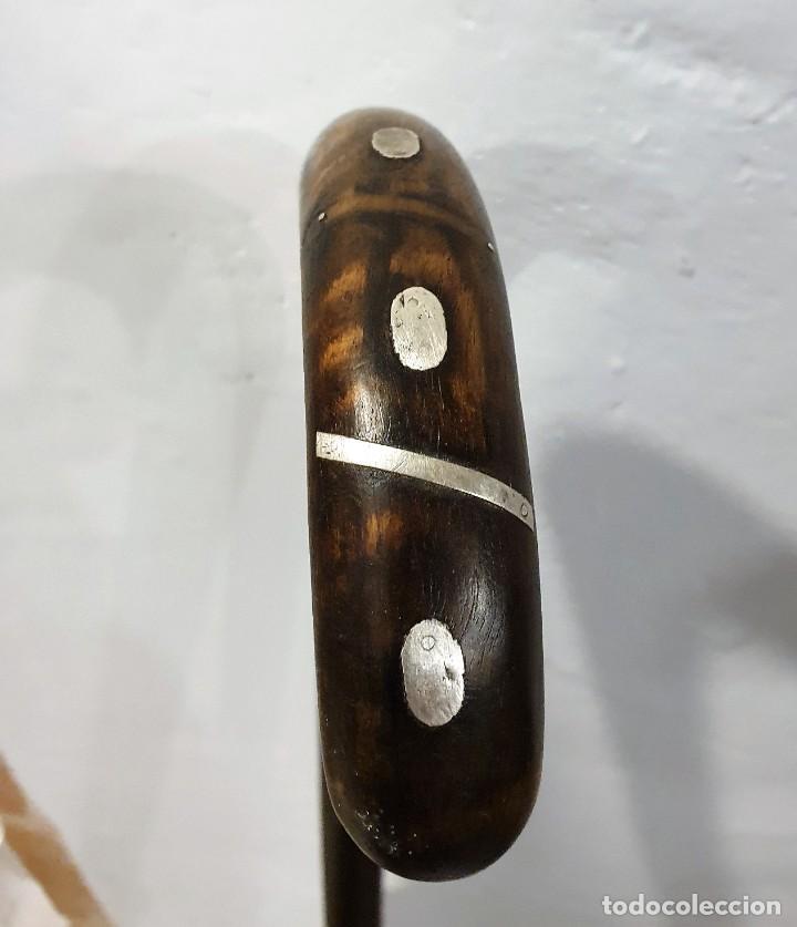 BASTON GARROTA CON INCRUSTACIONES DE PLATA (Antigüedades - Moda - Bastones Antiguos)