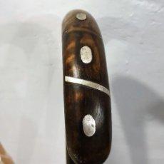 Antigüedades: BASTON GARROTA CON INCRUSTACIONES DE PLATA. Lote 236613440