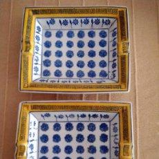 Antigüedades: PAREJA DE CENICEROS DE CERÁMICA PINTADOS. 21 X 17 CM.. Lote 236641640