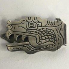 Antigüedades: CLIP O PINZA PARA BILLETES DE PLATA DE LEY 925 EN FORMA DE DRAGON.. Lote 236674045