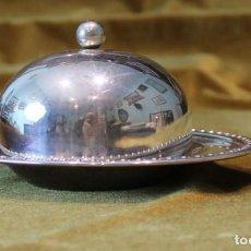 Antigüedades: SALSERA DE ALPACA,BANDEJA,TARRO Y TAPA.. Lote 236718365