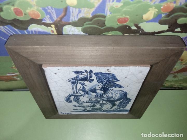 Antigüedades: AZULEJO BALDOSA ENMARCADA caballo - Foto 2 - 236732985