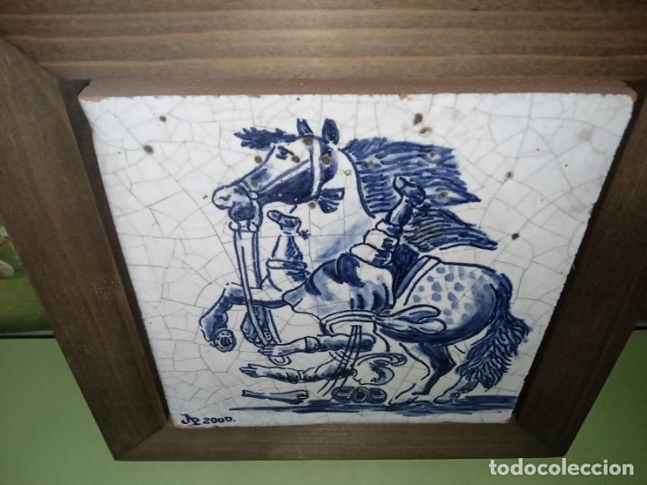 Antigüedades: AZULEJO BALDOSA ENMARCADA caballo - Foto 3 - 236732985
