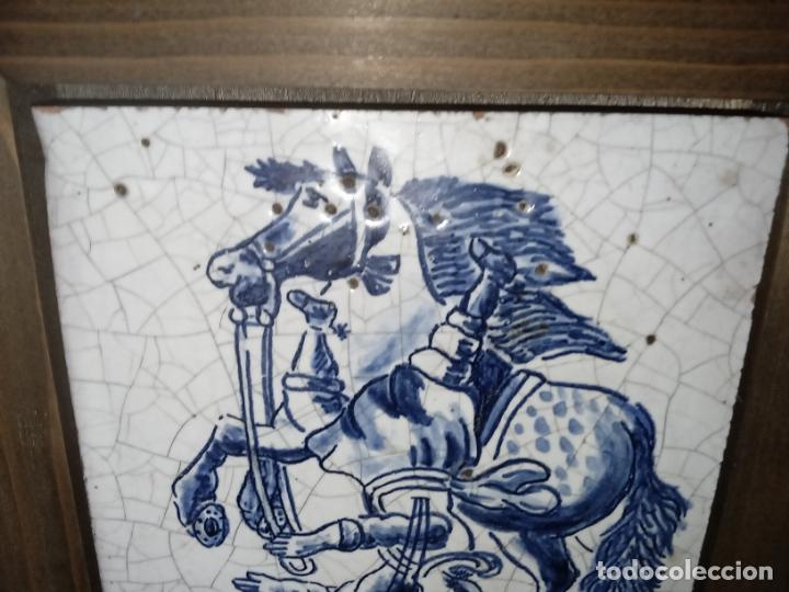 Antigüedades: AZULEJO BALDOSA ENMARCADA caballo - Foto 5 - 236732985