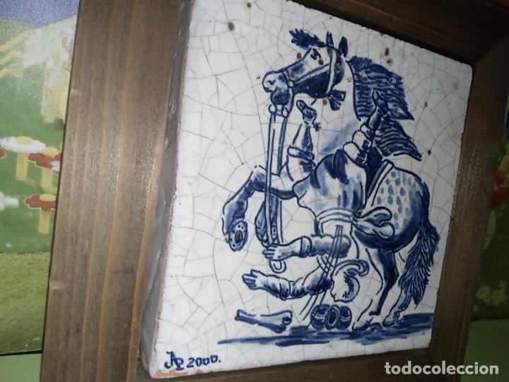 Antigüedades: AZULEJO BALDOSA ENMARCADA caballo - Foto 6 - 236732985